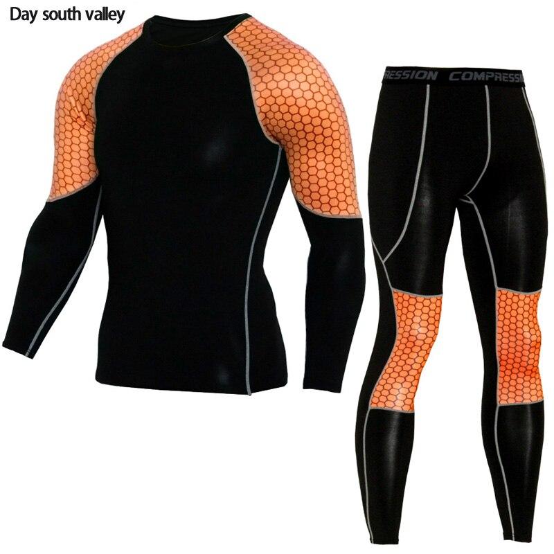 shgard kit Men's Jogging Training Set Fitness Sports T-shirt compression stretch pants MMA Clothing rash guard compression shirt