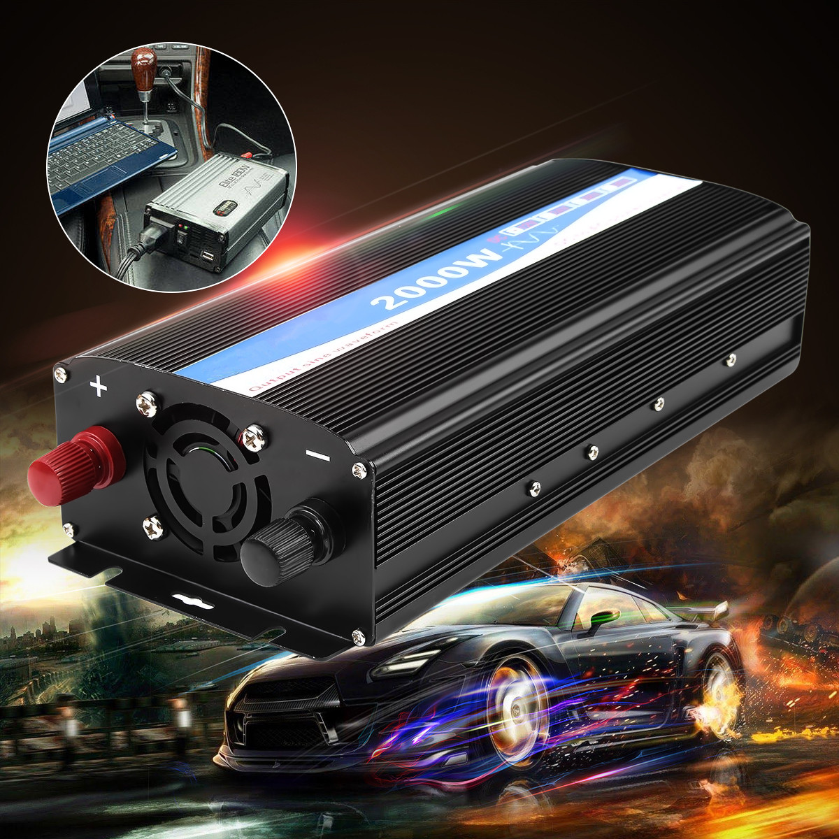 цена на Car Inverters Transformer 2000W DC 12V to AC 220V Dual Display Pure Sine Wave Power Inverter Charger Converters Car Power Supply