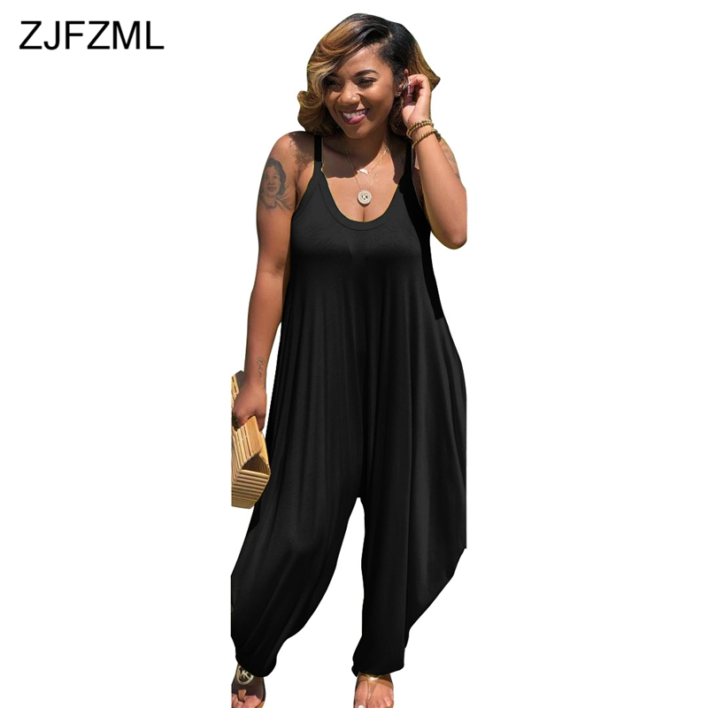 ZJFZML 2018 Harem Rompers Womens Jumpsuit Sexy Spaghetti Strap V Neck Loose Playsuit Casual Sleeveless Backless Long Overall