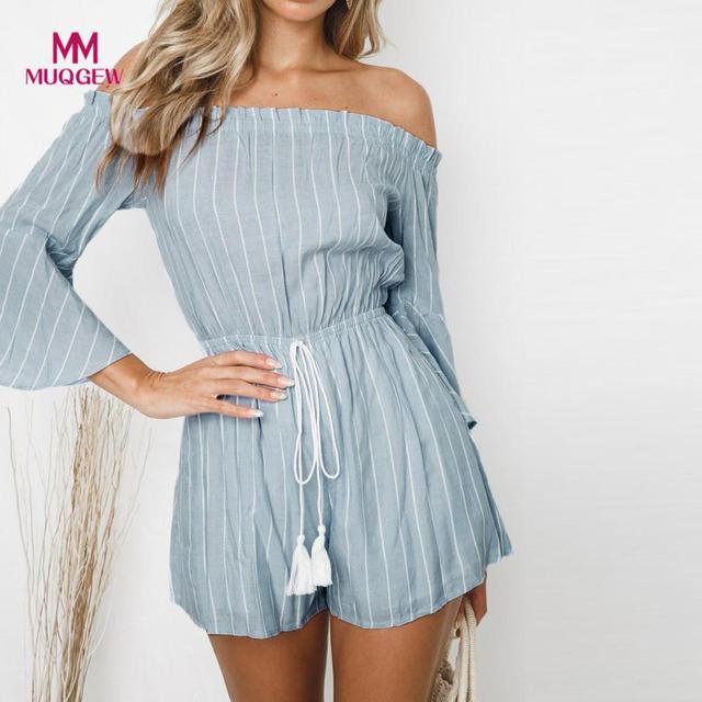 4b39a193a rompers womens jumpsuit Slash Neckline Stripe Print Casual Bandages Long  Sleeve Mini Jumpsuit jumpsuits for women combinaisons