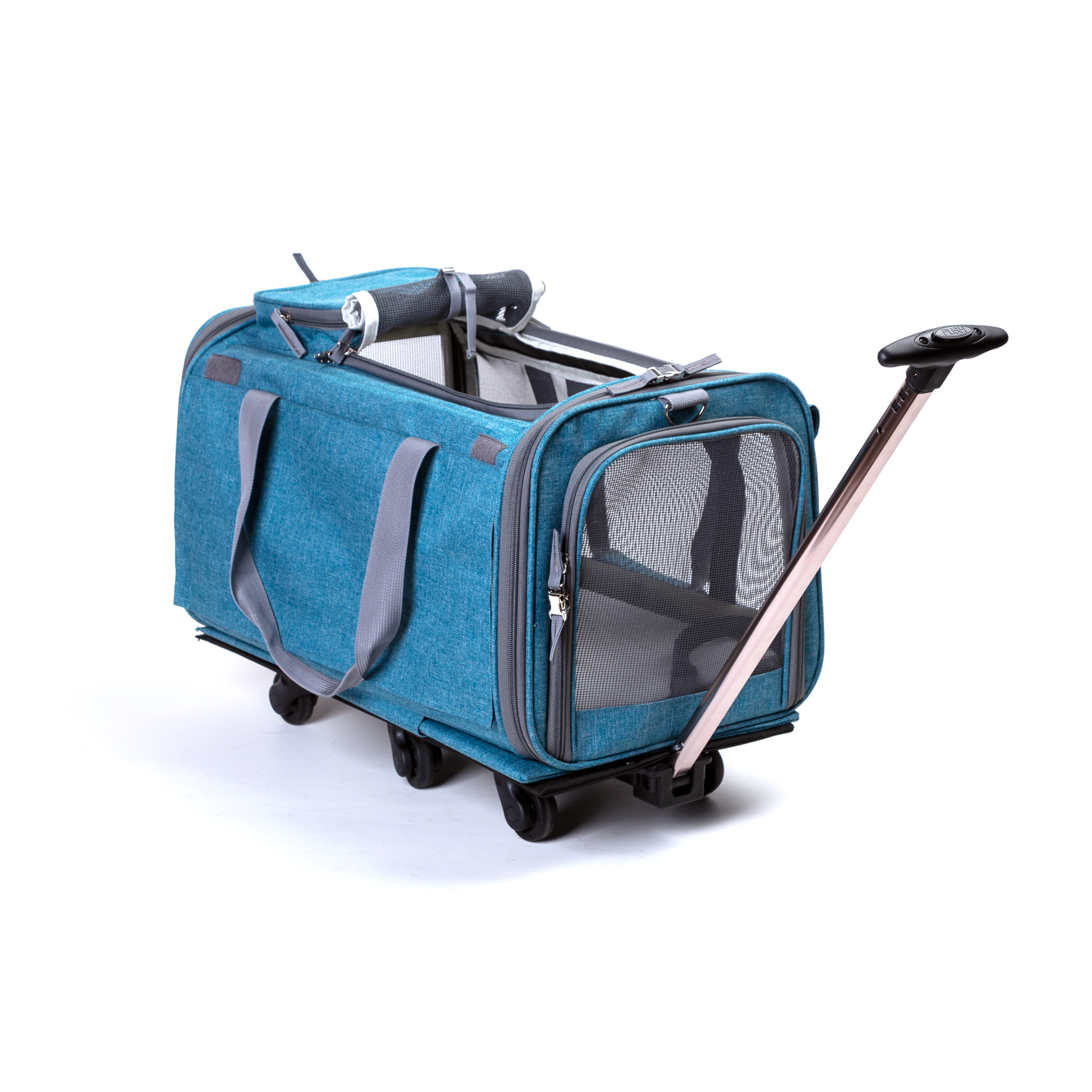 2018 New linen material medium dog pet package sunroof super breathable dog beds folding pet carrier with wheels