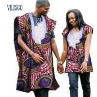 2018 традиционные африканские принт Топ для пара Костюмы Базен Riche Dashiki Для мужчин халат и Для женщин рубашка влюбленные пары, одежда WYQ72