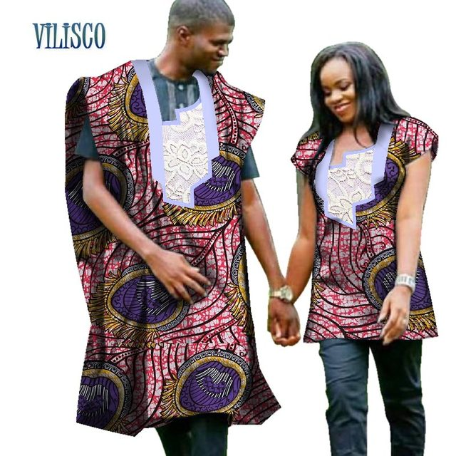 1cb29b9add 2018 Traditional African Print Top for Couple Clothing Bazin Riche Dashiki  Men Robe and Women Shirt Lovers Couples Clothes WYQ72