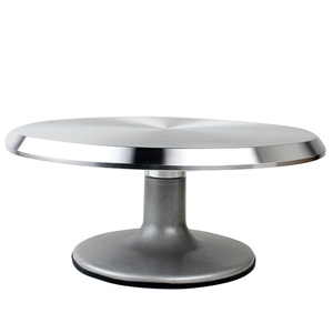 Fashion-Baking Tool Alloy Mounted Cream Cake Turntable Rotating Table Stand Base Turn Around Decorating Silver Metal