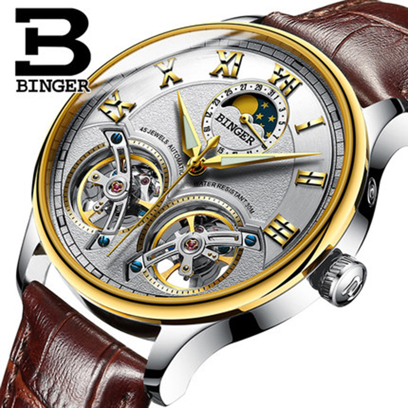 Genuine Switzerland BINGER Brand Men Self-wind waterproof full steel automatic mechanical male Hollow Luminous Tourbillon watch genuine switzerland binger brand men automatic mechanical luminous calendar waterproof sports chronograph military gold watch