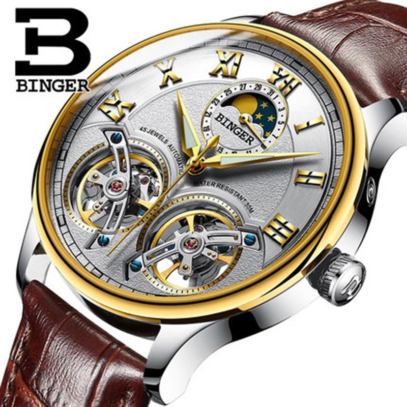 Genuine Switzerland BINGER Brand Men Self-wind waterproof full steel automatic mechanical male Hollow Luminous Tourbillon watch недорго, оригинальная цена