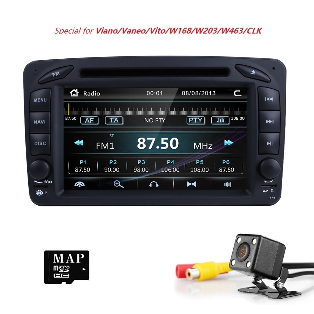 Lecteur Radio DVD de voiture 7 pouces pour Mercedes Benz CLK W209 W203 W208 W463 Vaneo Viano Vito Support miroir lien caméra gratuite + carte