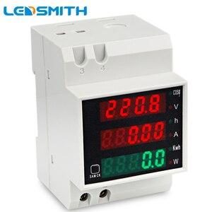 Image 1 - LEDSMITH D52 2047 DIN レール多機能デジタルメーター AC 80 300 V 0 100A アクティブ力率電気エネルギー電流計電圧計