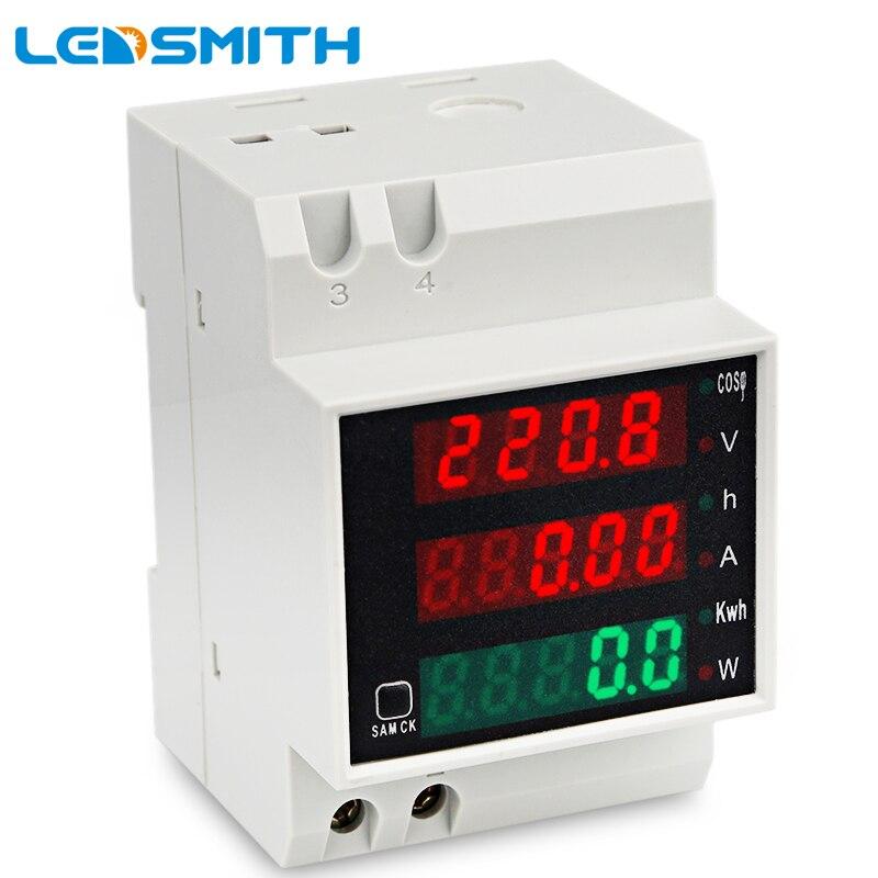 LEDSMITH D52-2047 carril DIN Multi-función Digital medidor AC 80-300 V 0-100A de Factor de potencia eléctrica energía voltímetro amperímetro
