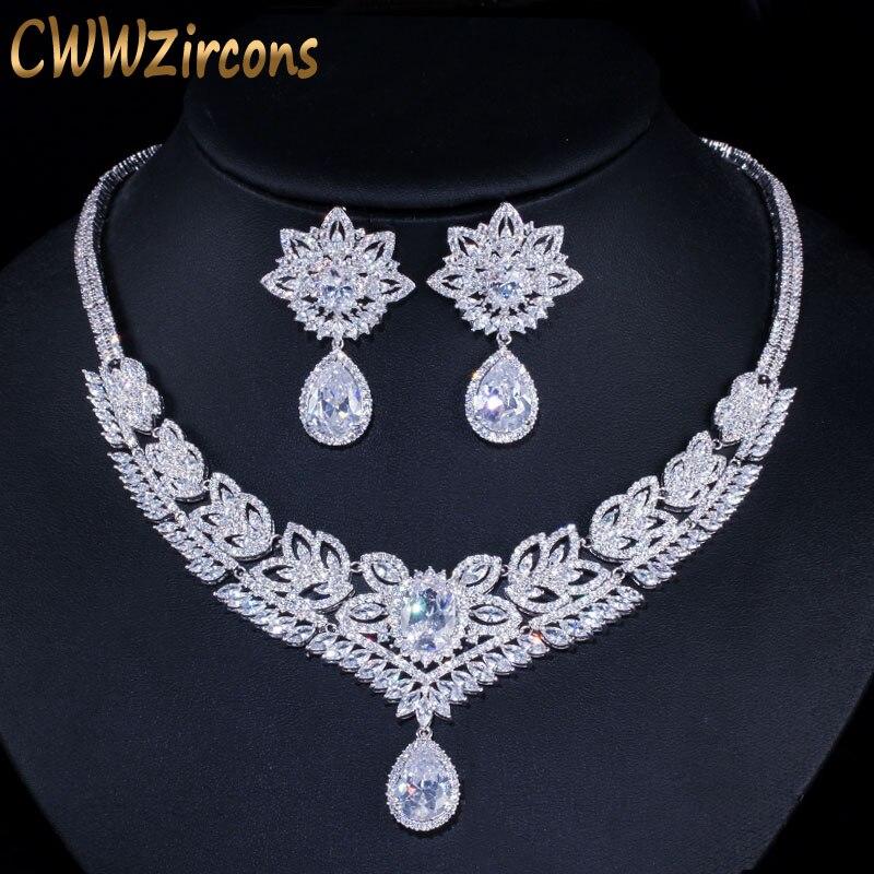 CWWZircons Big Water Drop Women Evening Party Costume Jewelry Sets Dubai Cubic Zirconia Paved Bridal Necklace