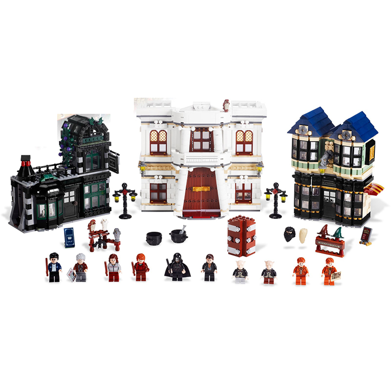 Lepin 16012 Diagon Alley building bricks blocks Toys for children boys Game Model Car Gift Compatible with Bela Decool 10217 lepin 02012 city deepwater exploration vessel 60095 building blocks policeman toys children compatible with lego gift kid sets