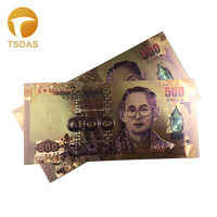 Normal Gold Banknote Rare Thailand Fake Money Gold Plated 500 Baht 10pcs Drop Shipping