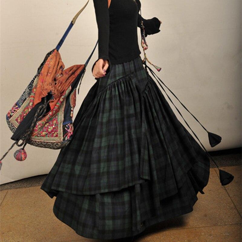Free Shipping 2019 New Fashion Long Maxi A-line Elastic Waist Women Cotton Skirts Plus Size S-2XL Vintage Plaid Blue Skirts