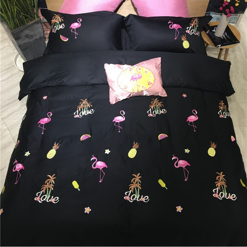 Pink Flame Birds Embroidery 60S Cotton Satin Bedding Set Black Duvet Cover Bed Linen Bed sheet Pillowcase King Queen 4 PCS
