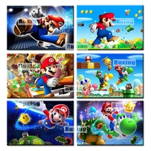 5d diamond painting kits stitch Super Mario with letters wall embroidery art home decor