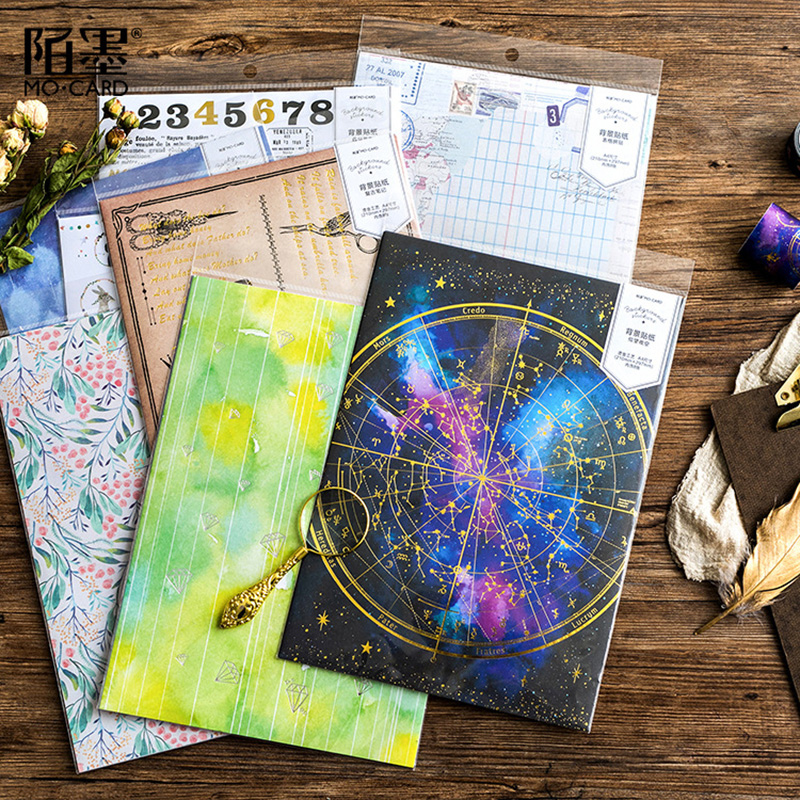 Office & School Supplies Glorious 8pcs A4 Size Vintage Notes/starry Sky Silver Hot Stamping Decorative Planner Sticker Diy Scrapbooking Phone Diary Album Stickers High Safety