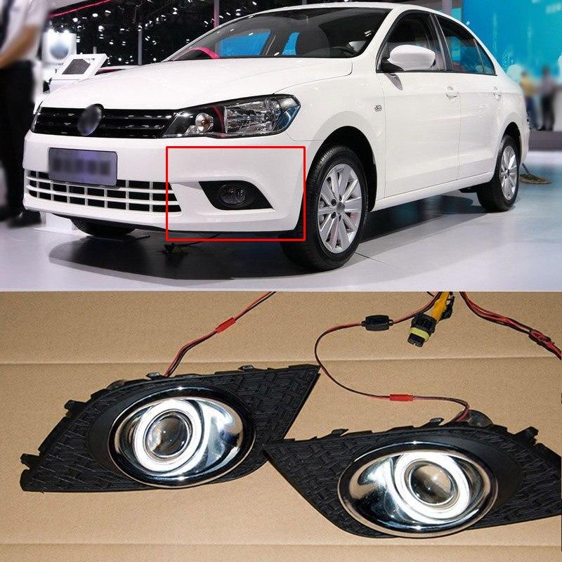Ownsun COB Angel Eye Rings Projector Lens with 3000K Halogen Lamp Source Black Fog Lights Bumper Cover For VW Jetta 2013-2016 ownsun innovative super cob fog light angel eye bumper projector lens for ford focus