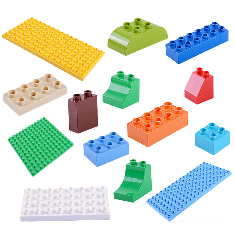 Single Sale Large Particle Diy Building Block Accessories Colorful Base Plate Compatible With Brand Duplo Toys For Baby Gift