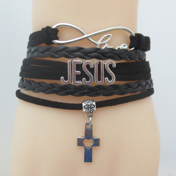 Love Jesus Christ Cross Leather Bangle Bracelet