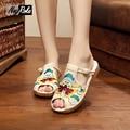 New summer retro peep-toe shoes women embroidery platform canvas sandals shoes simple flip flops women flat zapatillas slippers