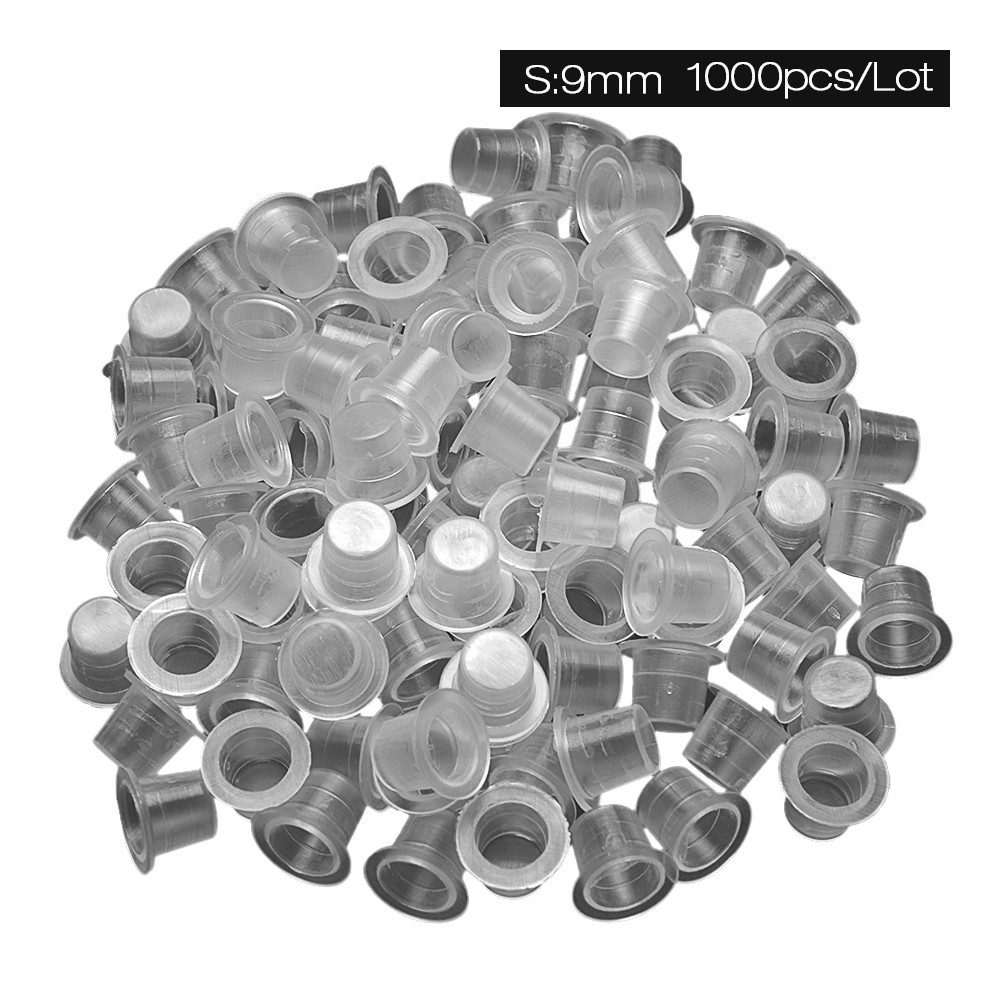 1000Pcs Plastic Disposable Tattoo Ink Cups Microblading Pigment Clear Holder Container Cap Tattoo Accessory Permanent Makeup