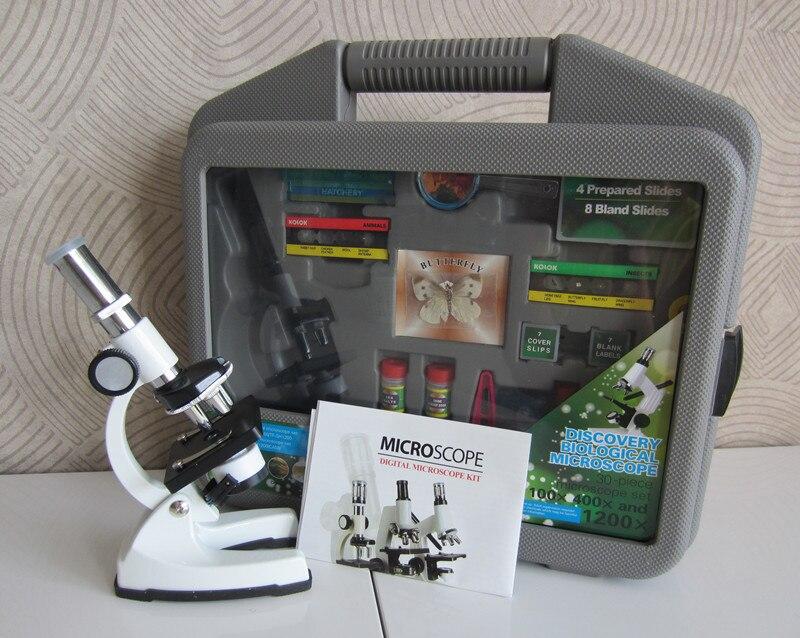 2018 1200X métal anniversaire métal cadeau de noël LED illuminée éducatifs enfants biologique étudiant jouet Microscope avec lampe