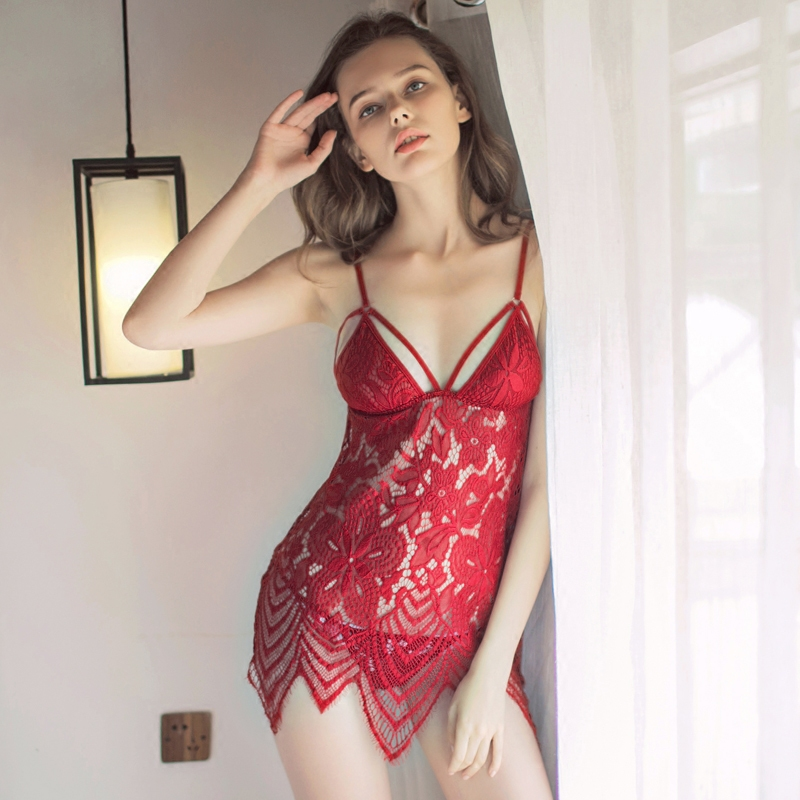 Bohemia style sexy lingerie lace three point perspective nightdress underwear beauty backless openwork nightgowns
