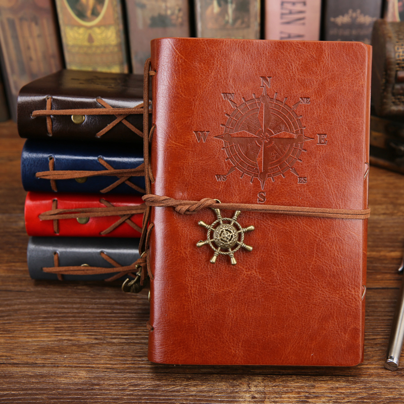 PHANTACI Vintage Blank Diary Notebook Leather Cover Pirate Note Book Replaceable Traveler Notepad Stationery Supplies ruize soft cover leather traveler notebook blank kraft paper note book a7 a6 creative travel journal diary school supplies