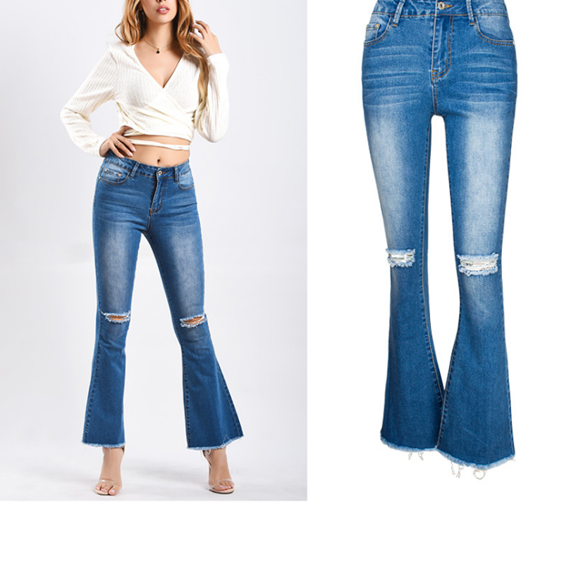 Plus Size Flare Jeans Woman Knee Hole Ripped Boyfriend Jeans For Women Distressed Bell Bottom Jeans Curvy Stretch Denim Trousers image