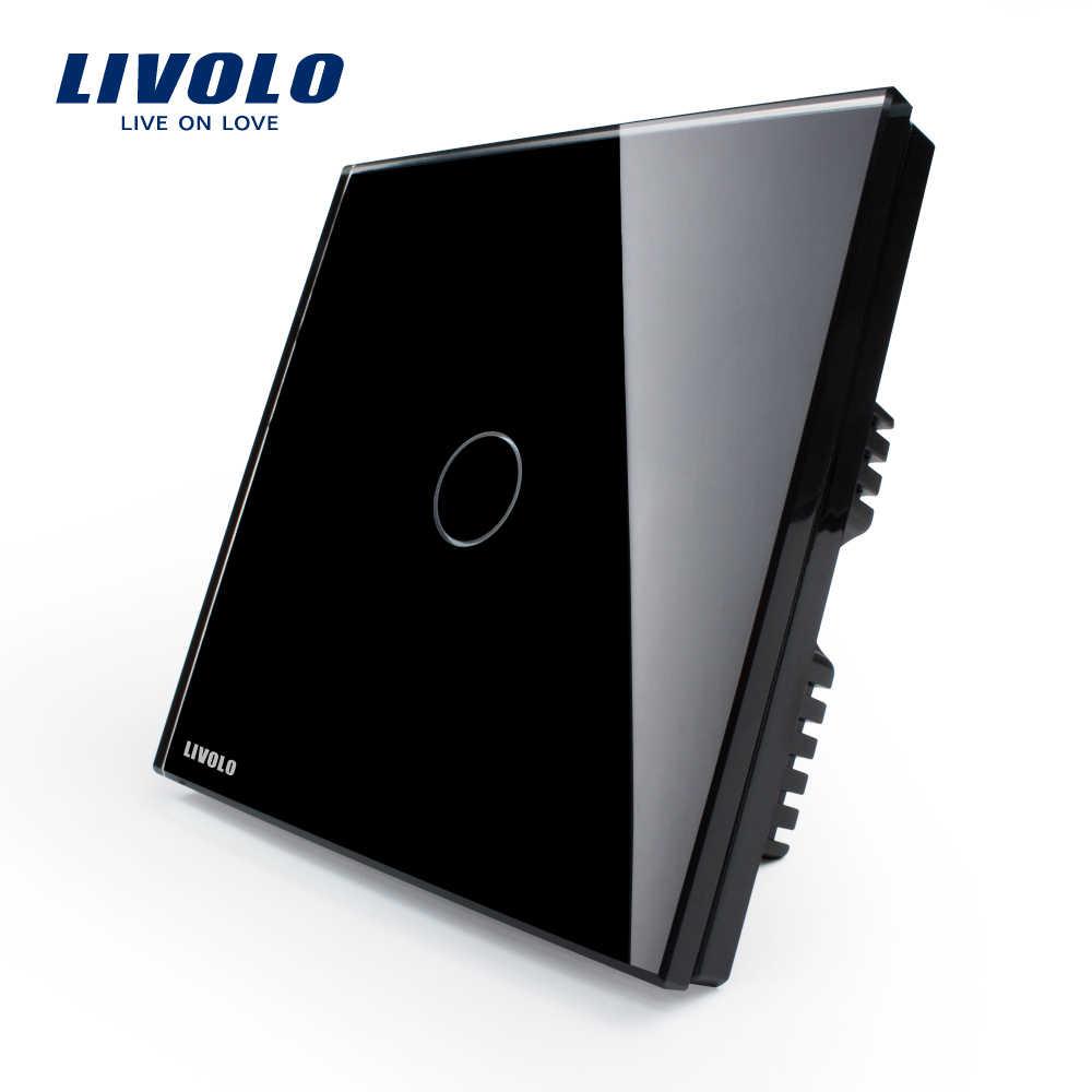 Livolo Великобритания Стандартный Настенный Выключатель, слоновая кость белый кристалл стеклянная панель, AC 220-250 В VL-C301-61, свет сенсорный выключатель, 1 банда 1 способ