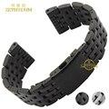Pulsera de acero inoxidable correa de reloj de correa de metal sólido 24 26 28 30mm accesorios reloj banda relojes de pulsera de plata negro