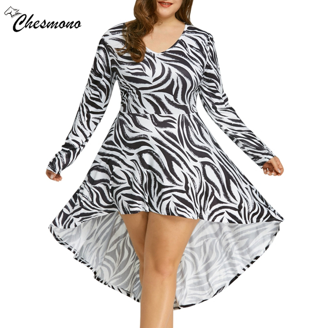 55b1e73f170 Plus Size Brand 2018 Women s Clothing V Neck Zebra Striped Dress Europe long  sleeve irregular Large