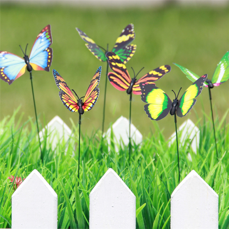 10PC 7CM Colorful 3D Double Layer Butterfly On Sticks Home Yard Lawn Flowerpot Plant Decoration Garden Ornament DIY Lawn Craft
