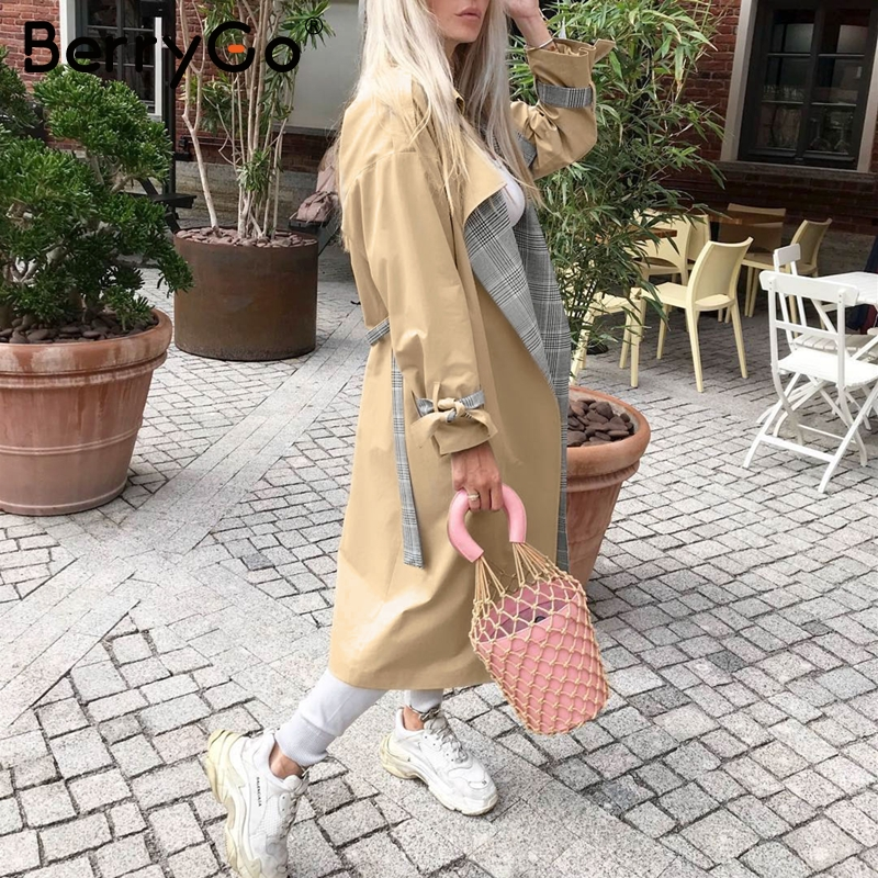 BerryGo Turn down collar women trench coat Vintage sashes plaid autumn winter long outwear Belt pockets office ladies overcoats 4