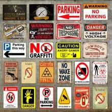 Aviso sin estacionamiento carteles metálicos cartel de estaño precaución peligro No fumar pared arte pintura publicidad tablero Vintage decoración del hogar YD019