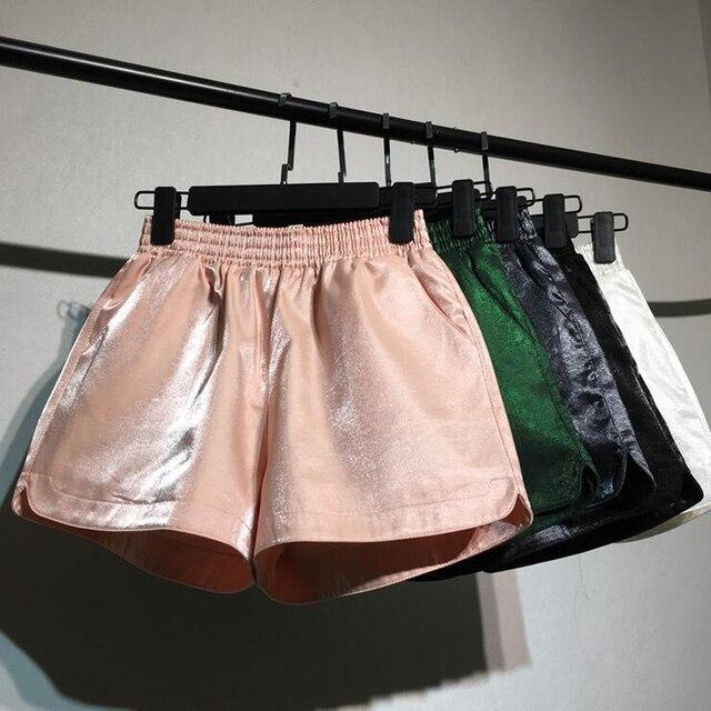 29a64472550 Punk Gold Sequin Shorts Women Summer 2018 New High Waist short feminino  Casual Vintage plus size Shorts Wide Leg Shorts