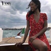2019 летнее платье, платье миди с запахом, винтажное красное пляжное платье в стиле бохо с вишневым принтом, с v-образным вырезом, сексуальные П...