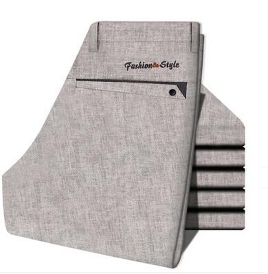 Летнее платье 2017 мужчины тонкие льняные брюки коммерческие тонкие льняные брюки мужские брюки легкий уход прямые повседневные брюки d915
