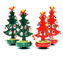 Wood Christmas Tree Children Xmas Gift Mini Table Christmas Tree Decor Small Model Decoration WA858 T72