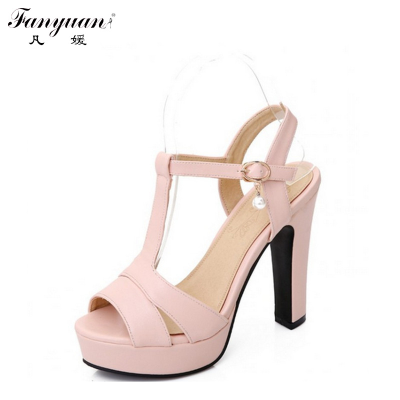 ФОТО New Hot Sale Sweet Leisure Square High Heels Platform Sandal Dress Shoes For Women Sexy Casual Buckle Strap Summer Dress Shoes!!