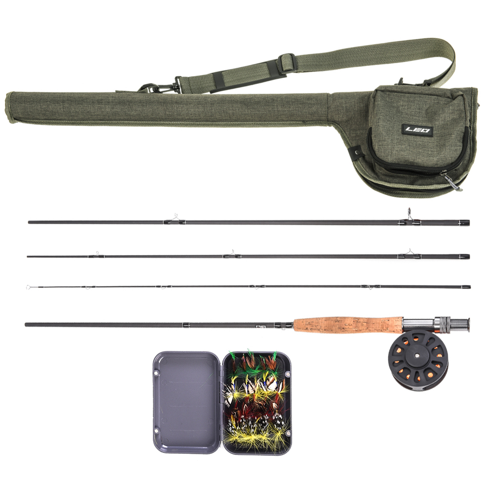 LEO 9 Fly Fishing Rod and Reel Combo Set 7 8 Fly Rods with Carry Bag