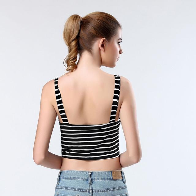 100PCS/LOT woman's elastic bandage top vest  balck and white color stripe spaghetti strap tight cute sweet singlet