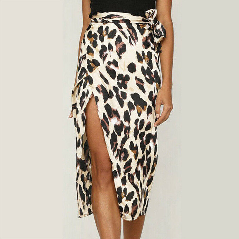 Women Midi Wrap Skirt High Waist Sexy Leopard Bodycon Pencil Skirt Long Elegant Party Summer 2019 Bandage Vintage Ladies Clothes