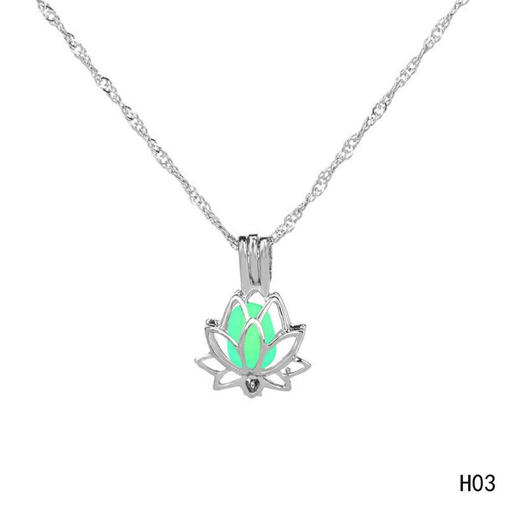 Moda plata Color aleación flor brillo luminoso en la media luna oscura colgante collar para mujer joyería regalo 3 colores