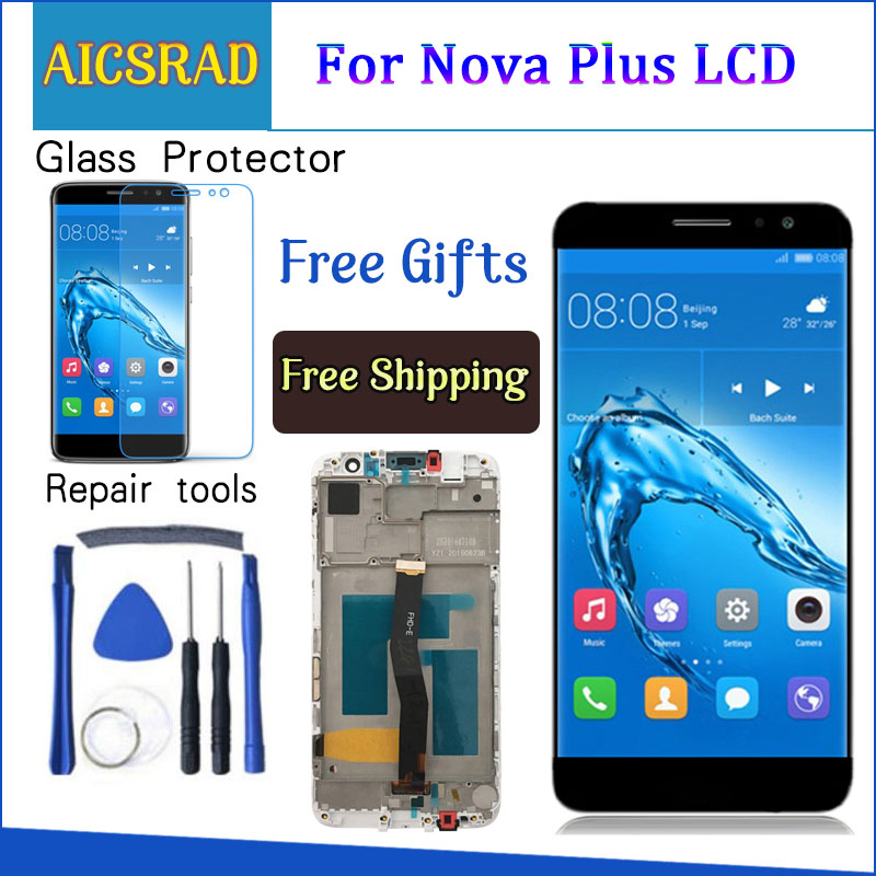 Touch Screen For Huawei Nova Plus 5.5 Inch TD-LTE MLA-L01 MLA-L11 LCD Display Digitizer Panel Assembly Frame With Free Tools
