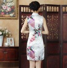 White Summer Mini Cheongsam Traditional Chinese Style Womens Rayon Dress Elegant Slim Qipao Novelty Vestidos Size S M L XL XXL