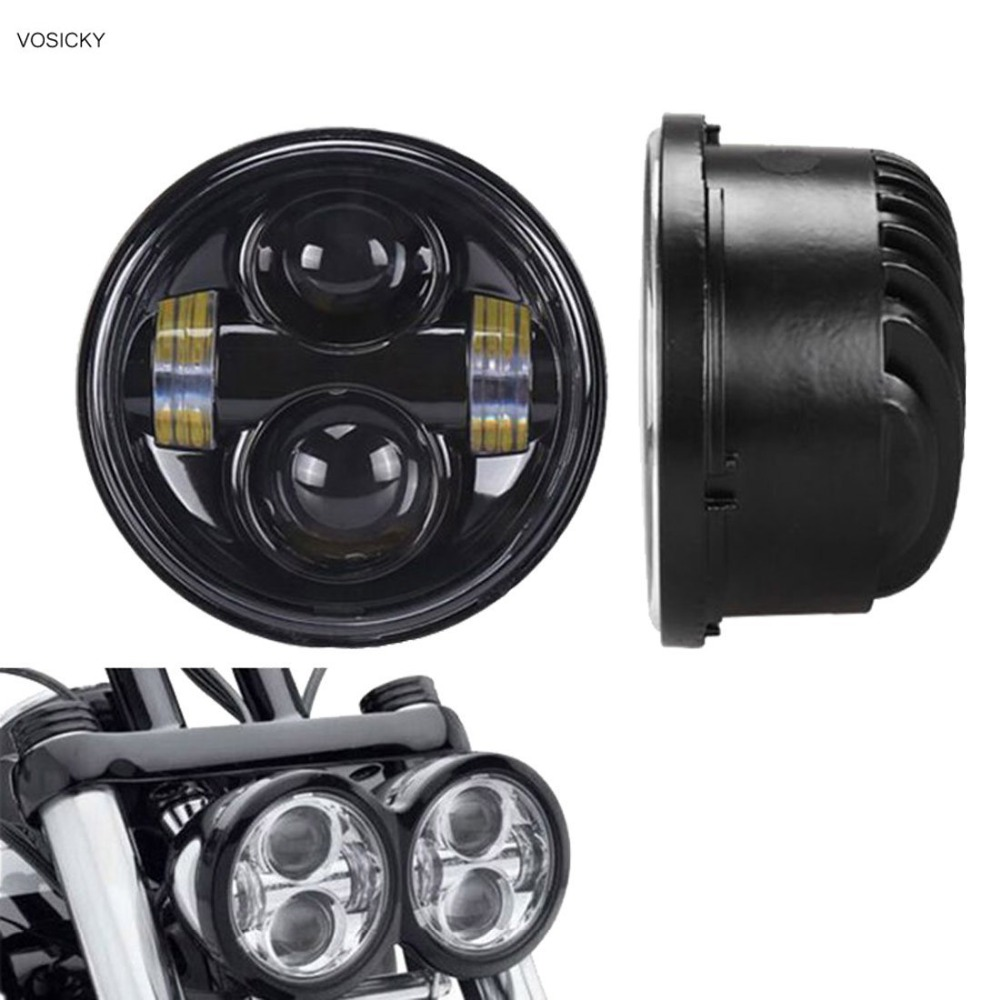 VOSICKY 4.65 Twin Dual LED Headlights Daymaker high low beam for Harley Fat Bob Headlamp Motorcycle Double Dual Lamp 101 more low fat feast