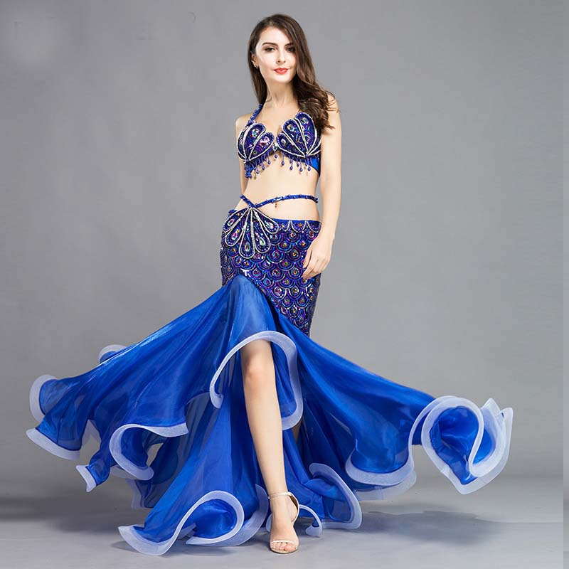 2019 New Luxury Belly Dance Costumes Beading Professional Party Dancing Wear 2 Pcs Set Bellydance Outfit Bra + Skirt