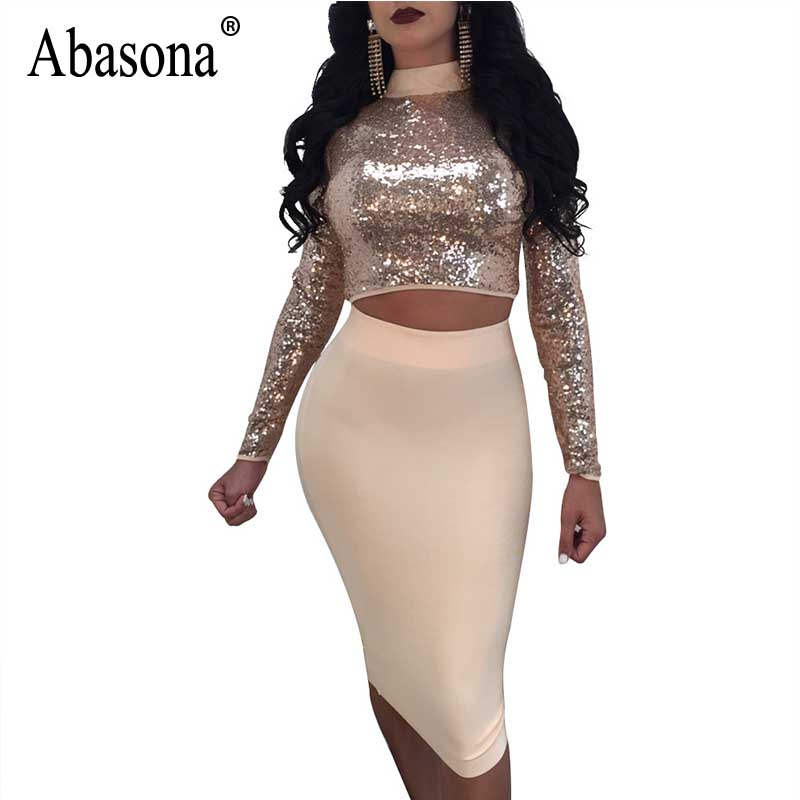 ab735e6d9c8bfd Abasona Women Sequin Dress Autumn Long Sleeve Lace Up Bandage Dresses Two  Piece Set Sexy Women