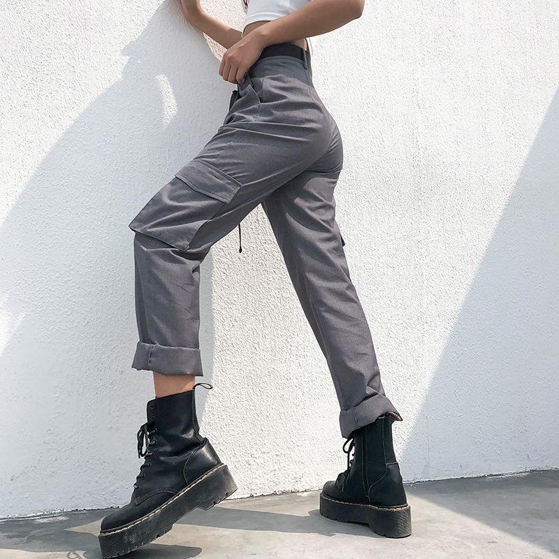 Liva Girl Harajuku Casual   Pants     Capris   High Waist Ladies Trousers Streetwear Straight Cargo   Pants   Womens Female Zipper Pockets